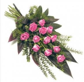 A Dozen Pink Roses Tied Sheaf