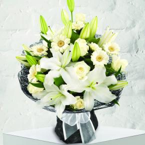 Pure Rose, Germini and Lily Bouquet