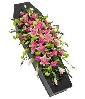 Pink Rose and Lily Full Casket Spray